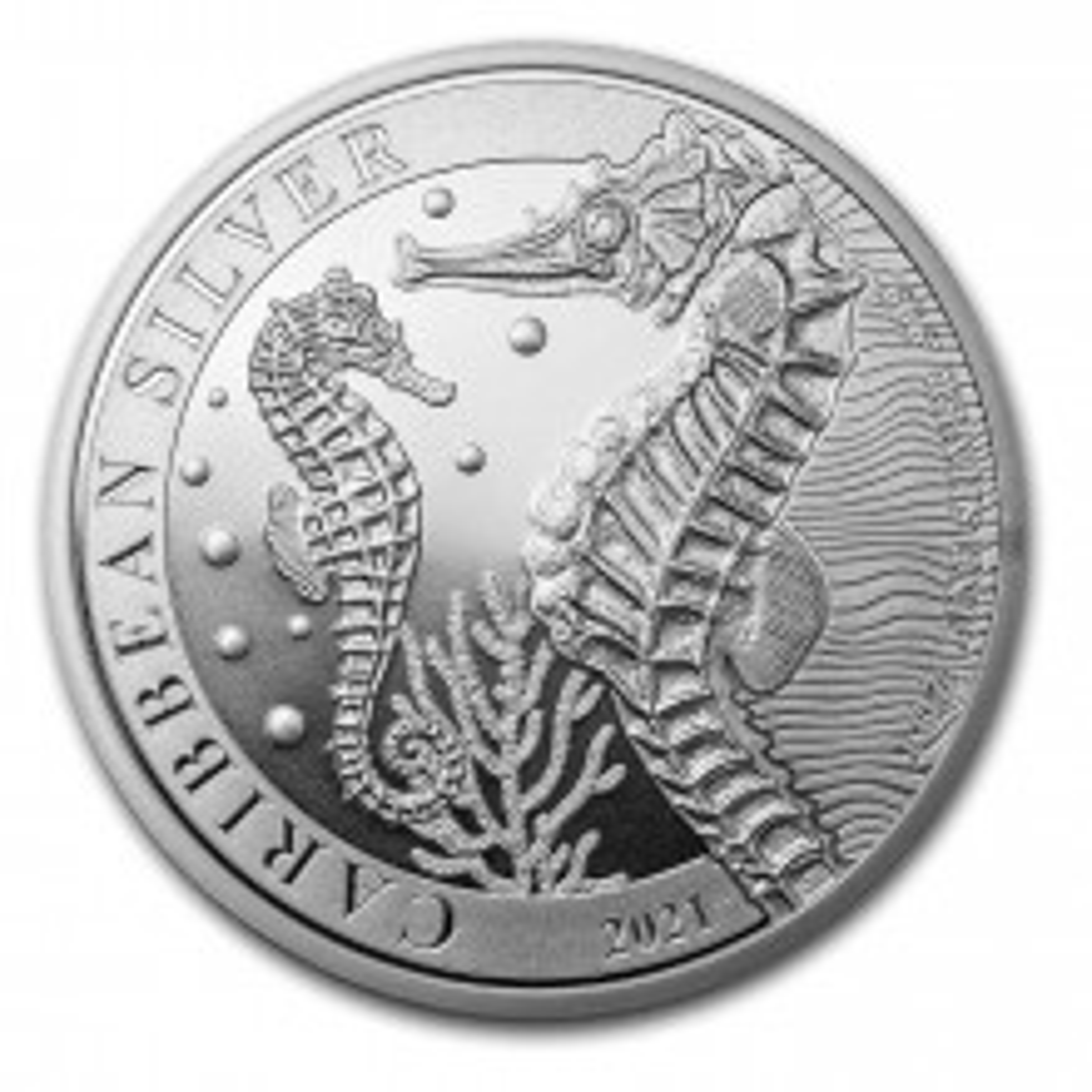 1 troy ounce zilveren munt Caribbean Seahorse 2021