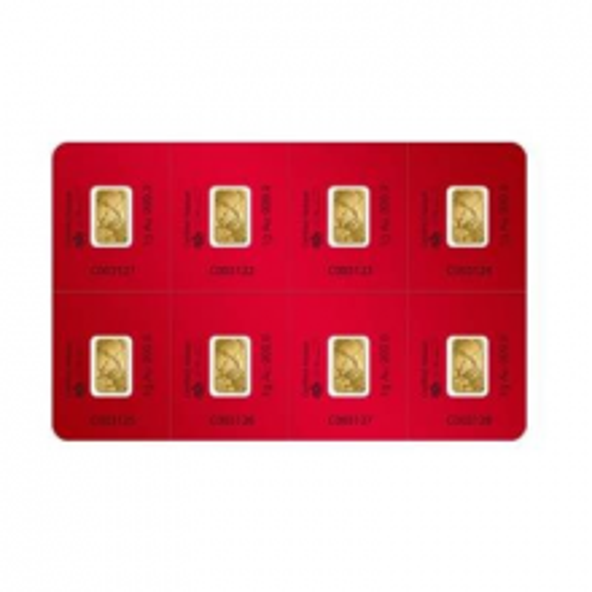 8 x 1 Gram goudbaar Pamp Suisse Lunar jaar van de Os 2021