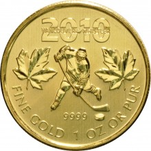 1 Troy ounce gouden munt Maple Leaf Vancouver 2010