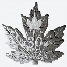 Uitsnede zilveren Maple Leaf esdoornblad 30 Years