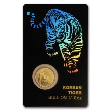 1/10 Troy ounce gouden munt Korean Tiger 2018 in assay
