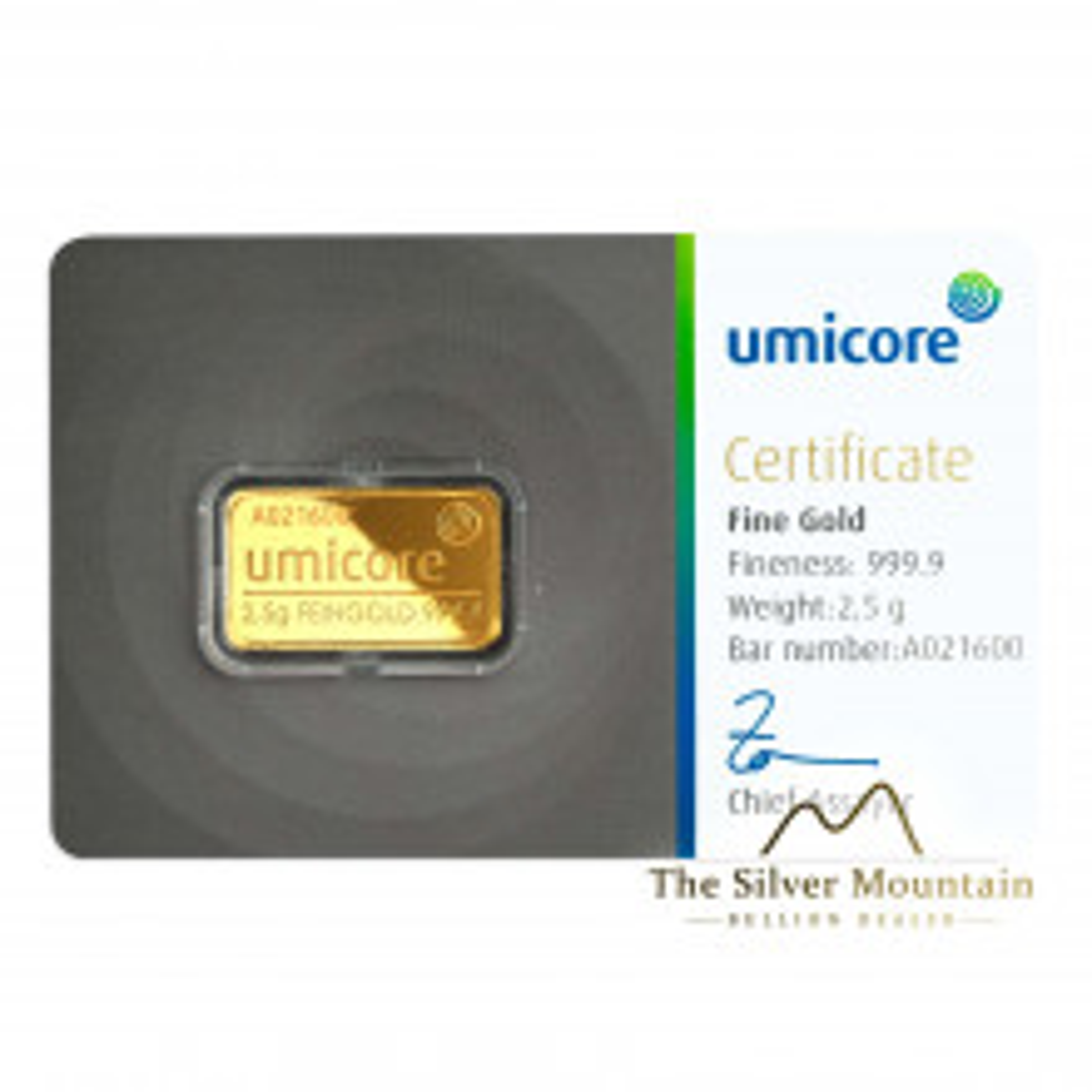 Goudbaar 2,5 gram Umicore met certificaat