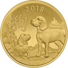 1 Troy ounce gouden munt China Lunar 2018