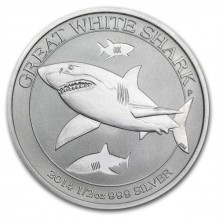 1/2 troy ounce zilveren munt 2014 Great White Shark