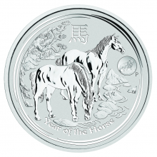 Zilveren 1 troy ounce Lunar munt 2014 - privy mark
