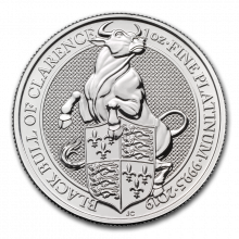 1 Troy ounce platina munt Queens Beasts Black Bull 2019