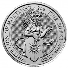 2 Troy ounce zilveren munt Queens Beasts White Lion 2020