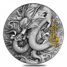 2 troy ounce zilveren munt Azure Dragon 2020