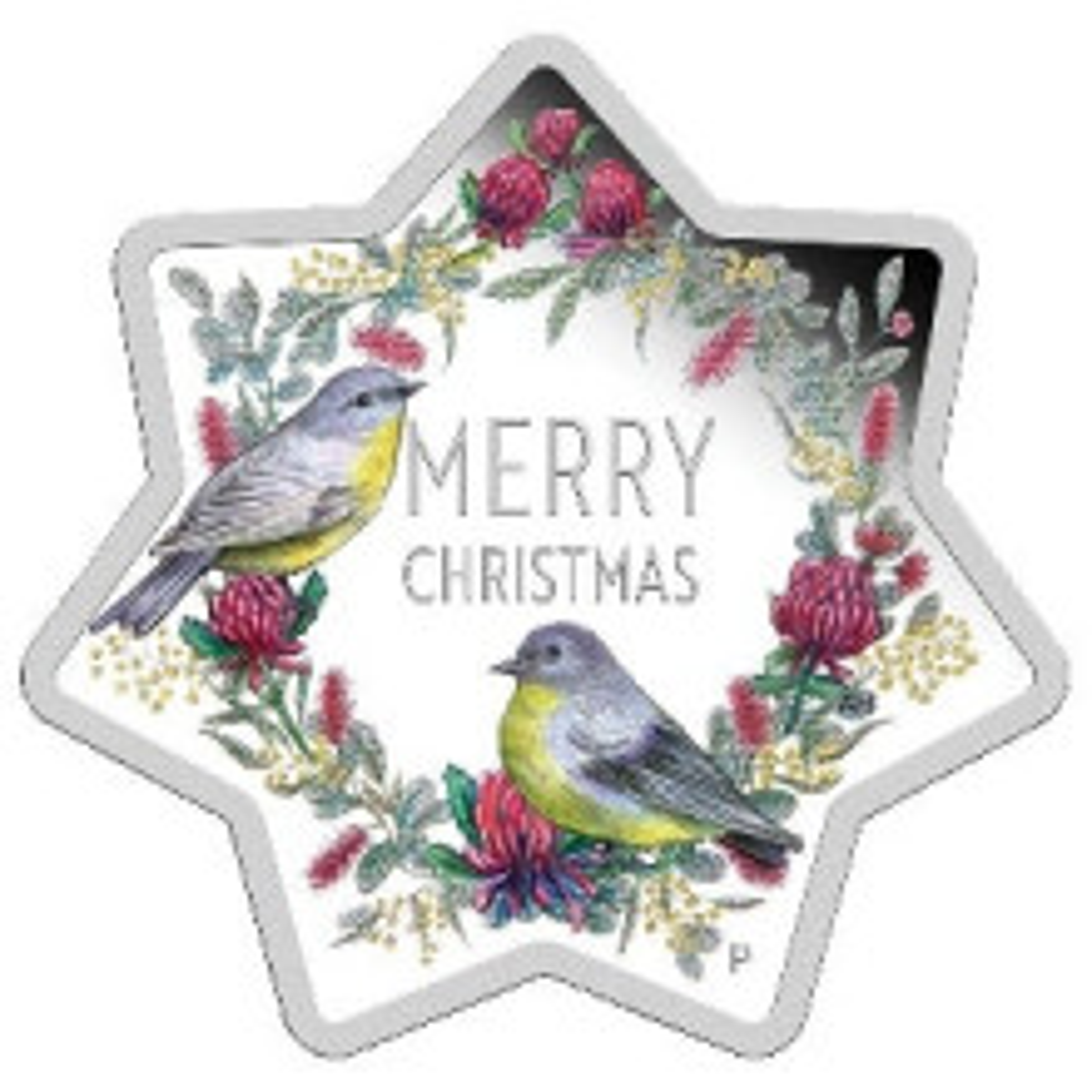 Zilveren kerstmunt stervorm 2020 Proof