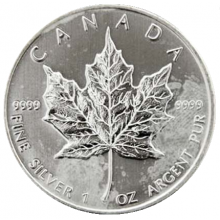 1 troy ounce zilver Maple Leaf munt circulated