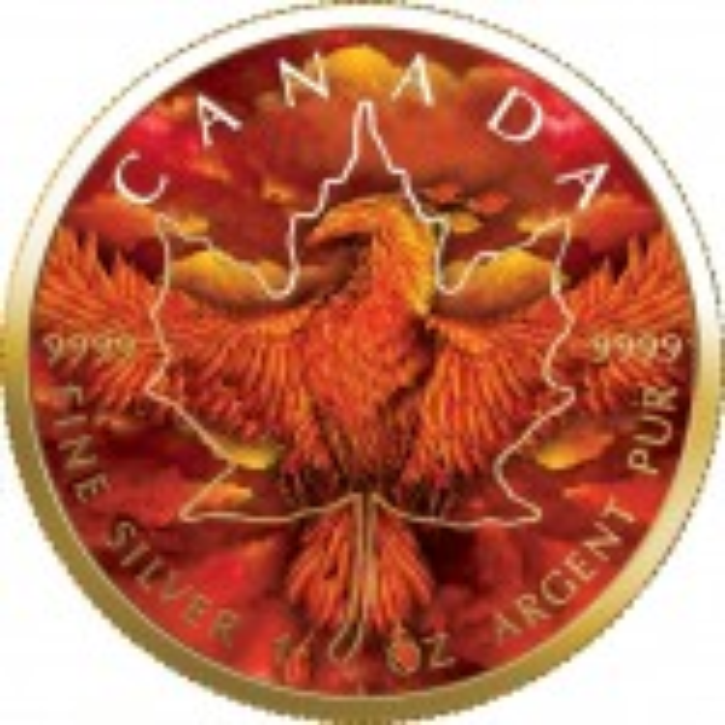1 Troy ounce zilveren munt Maple Leaf Rising Phoenix 2020