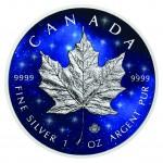 1 Troy ounce zilveren munt Glowing Galaxy Maple Leaf 2019