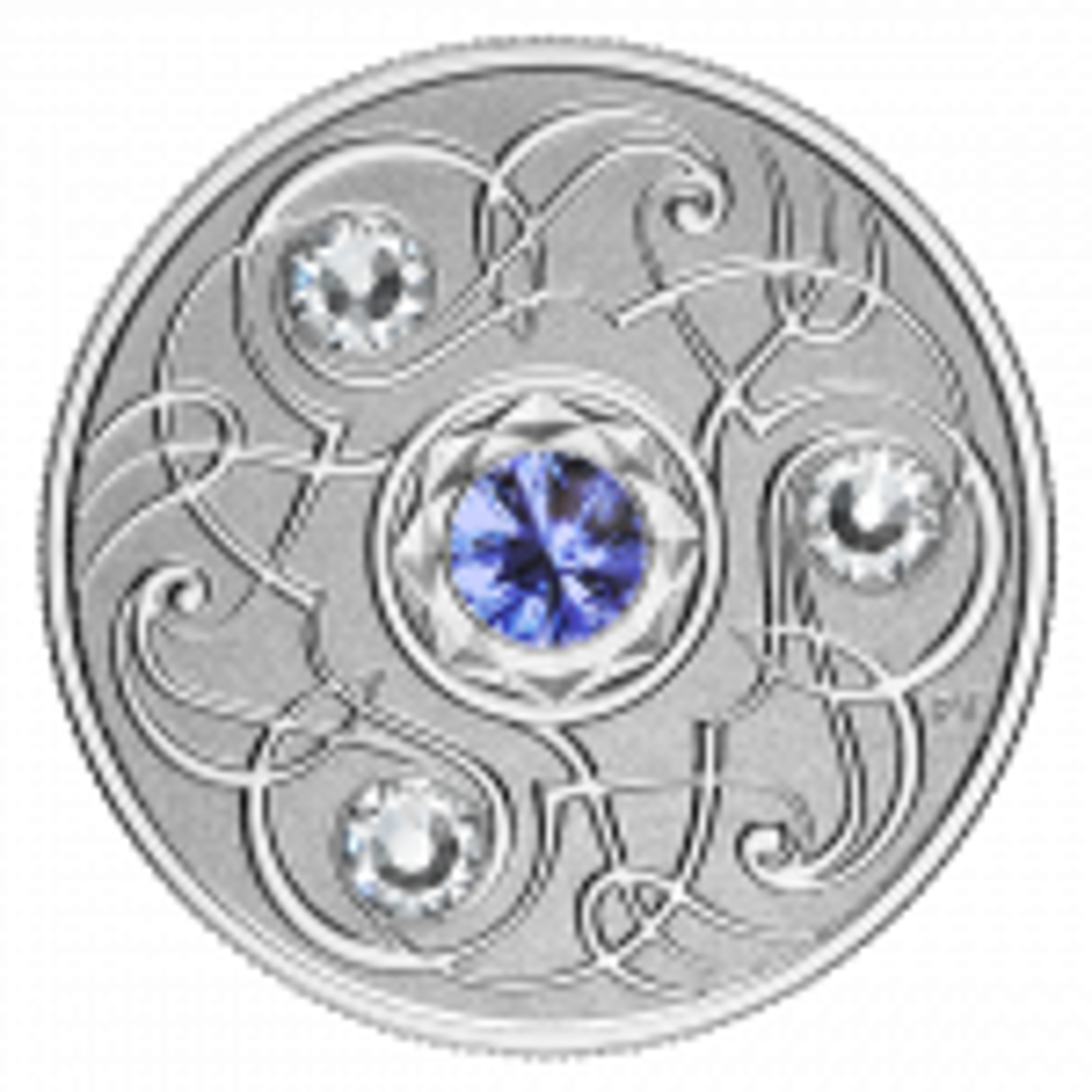 Zilveren munt september Birthstone Swarovski 2020