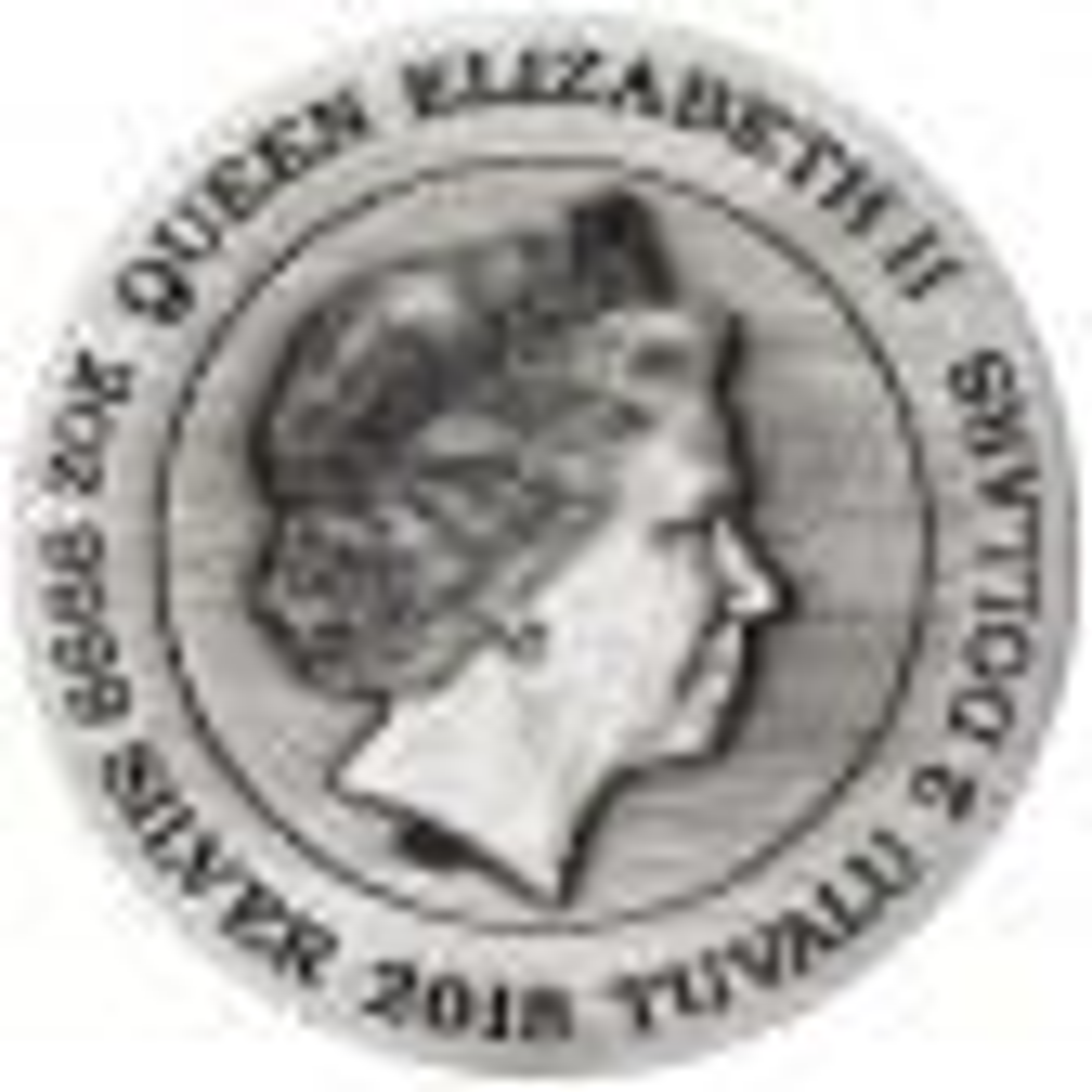 2 troy ounce zilveren munt Qi Lin Unicorn antieke afwerking 2018 - achterkant