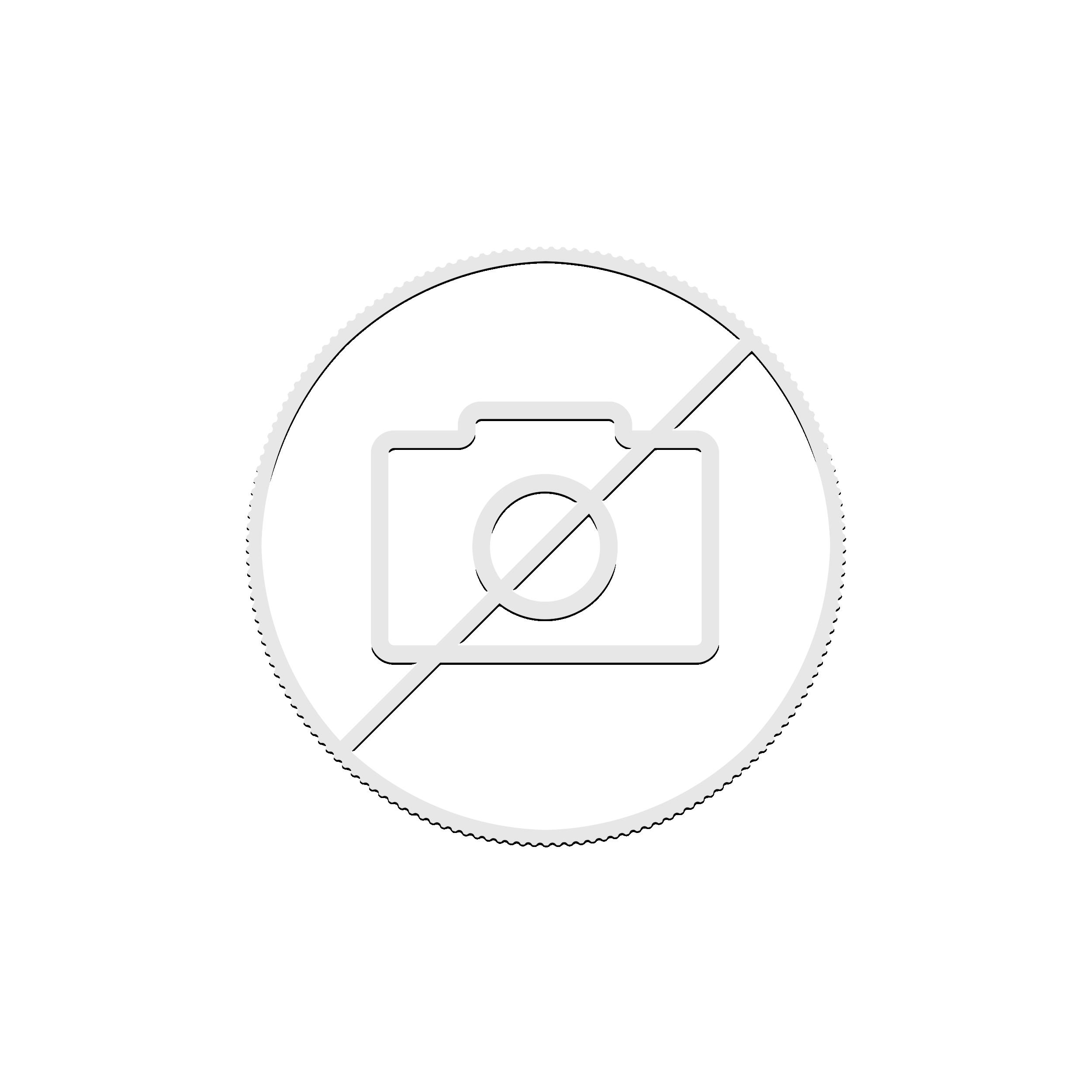 Zilveren munt Augustus Birthstone Swarovski achterzijde