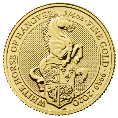 1/4 Troy ounce gouden munt Queens Beasts White Horse 2020