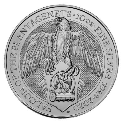10 Troy ounce zilveren munt Queens Beasts Falcon of the Plantagenets 2020