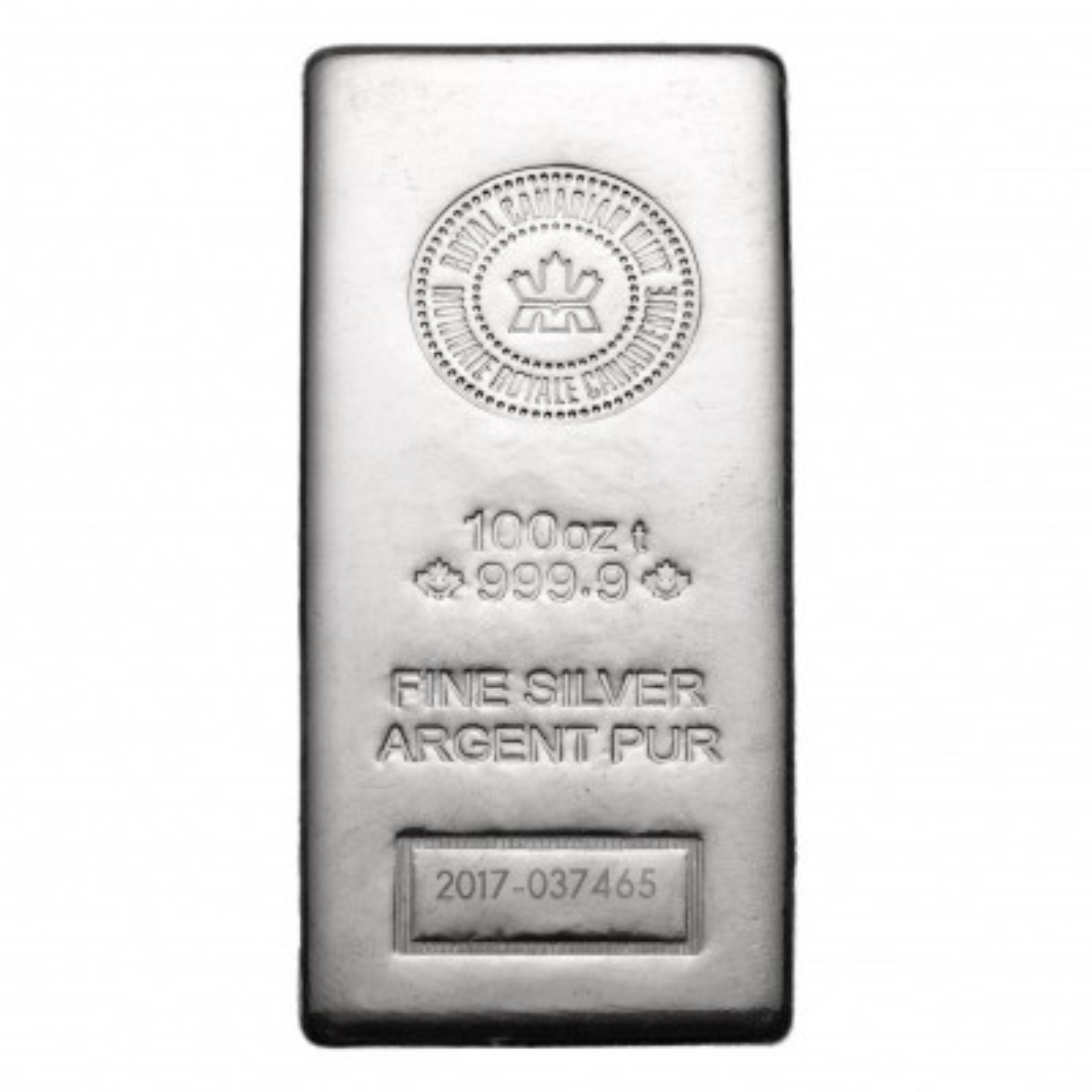 100 Troy ounce silver bar VAT-free Royal Canadian Mint