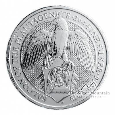 2 Troy ounce silver coin Queens Beasts Falcon of the Plantagenets 2019