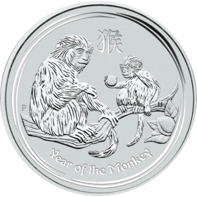 1 troy ounce Silver Lunar coin Year of the Monkey 2016 obverse