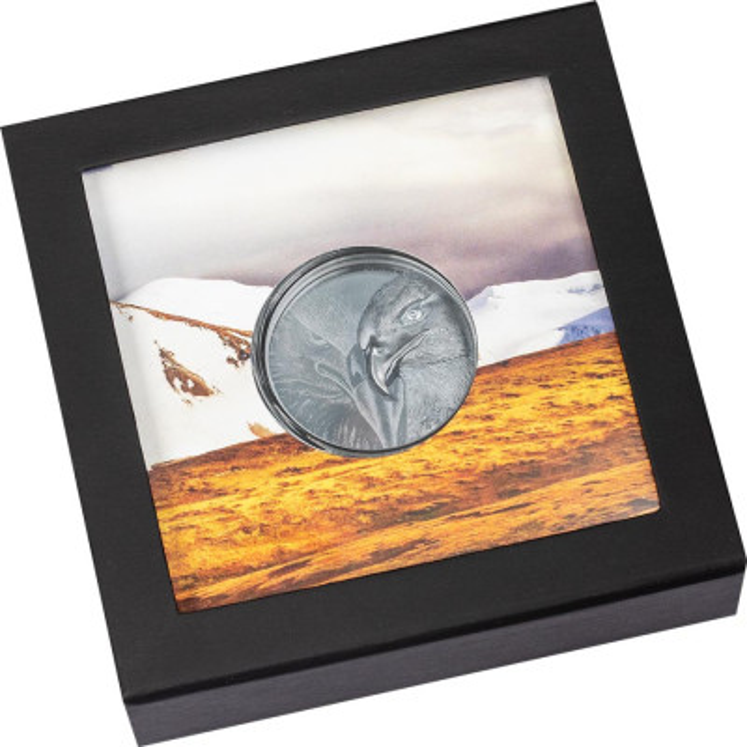 2 troy ounce zilveren munt Majestueuze Adelaar Zwart Proof - box