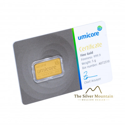 Gold bar 5 grams Umicore with certificate