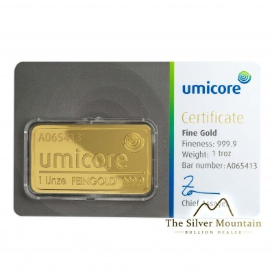 Gold bar 1 troy ounce Umicore with certificate