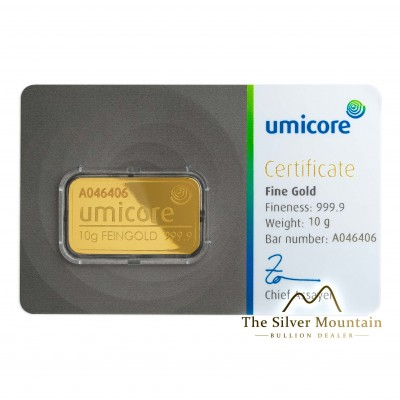 Gold bar 10 grams Umicore with certificate