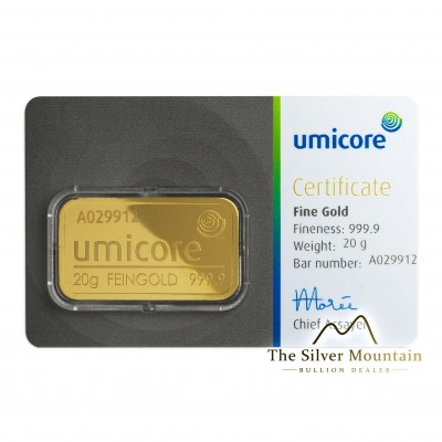 Gold bar 20 grams Umicore with certificate of authenticity