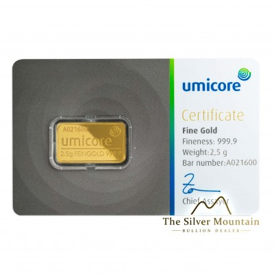 Gold bar 2.5 grams Umicore with certificate of authenticity