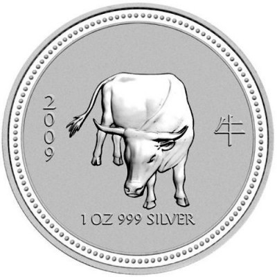 Rare: 1 troy ounce silver coin Lunar Series I - Year of the Ox 2009