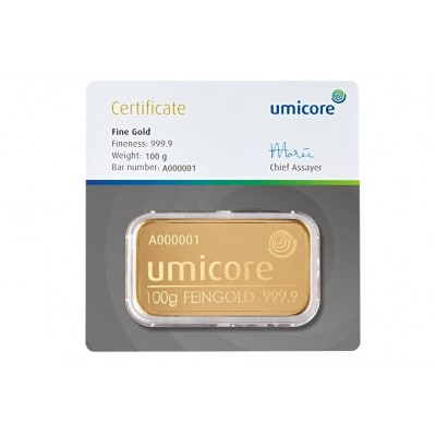 Gold bar 100 grams Umicore with certificate of authenticity