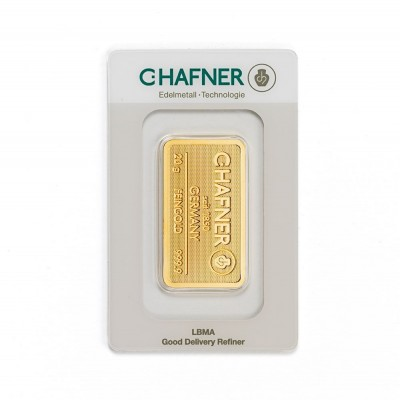 Gold bar 20 grams C. Hafner