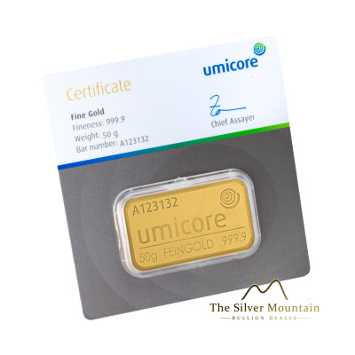 Gold bar 50 grams Umicore with certificate