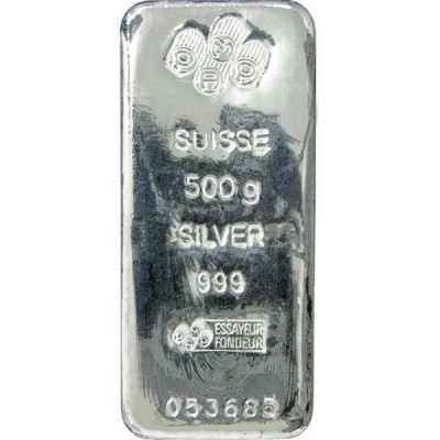 500 Grams silver bar various melters
