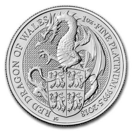 1 Troy ounce platina munt Queens Beasts Dragon 2018