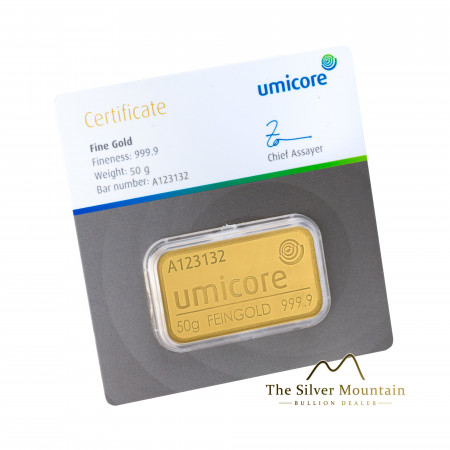 50 gram gold bar Umicore with certificate