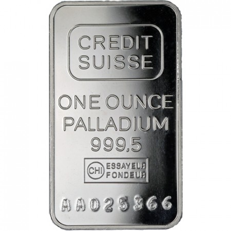 1 Troy ounce palladium bar Credit Suisse