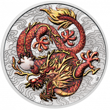 Silver coin Chinese myths and legends dragon colored 2021