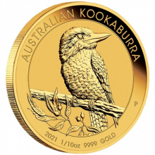 1/10 troy ounce gold coin kookaburra 2021