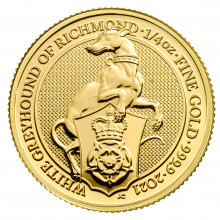 1/4 troy ounce gold coin Queens Beasts White Greyhound