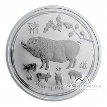 1 Troy ounce silver coin Lunar 2019 year of the pig