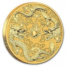 1 Troy ounce gold coin double Dragon 2020
