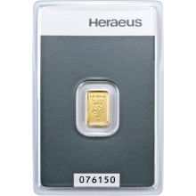 1 Gram gold bar Heraeus