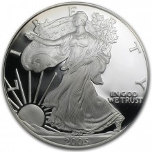 1 Troy ounce silver coin American Silver Eagle 2005 Proof