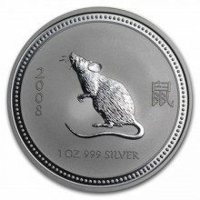 Rare: 1 troy ounce silver coin Lunar Series I - Year of the Mouse 2008