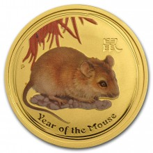 1/4 Troy ounce gold coin Lunar 2008 - year of the mouse - colorized
