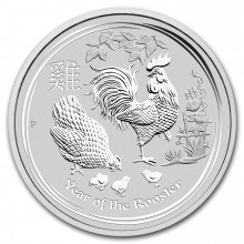 1 Troy ounce silver Lunar coin 2017 - year of the rooster