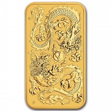 1 Troy ounce golden Rectangular Dragon 2020 bar