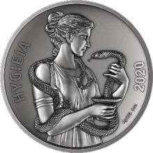 2 troy ounce silver coin Samoa Hygieia Piedfort - antique finish 2020